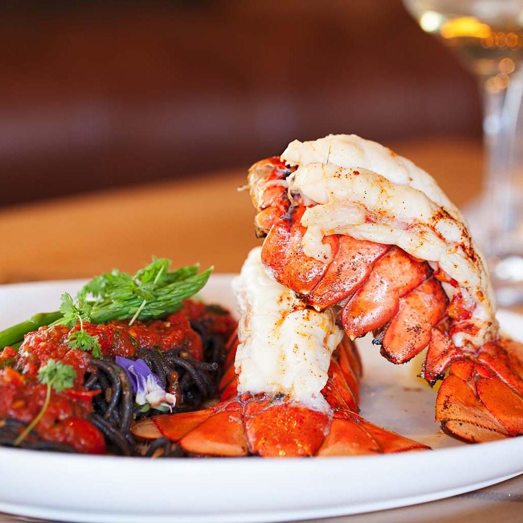 6 oz Twin Lobster Tail / Squid Ink Infused Spaghetti / Spicy Tomato Sauce